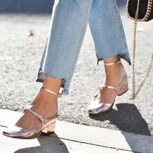 Jimmy Choo Wilbur Rose Gold Mary Jane Heel